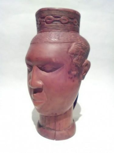 Palm Wine Drinking portrait Cup carved wood