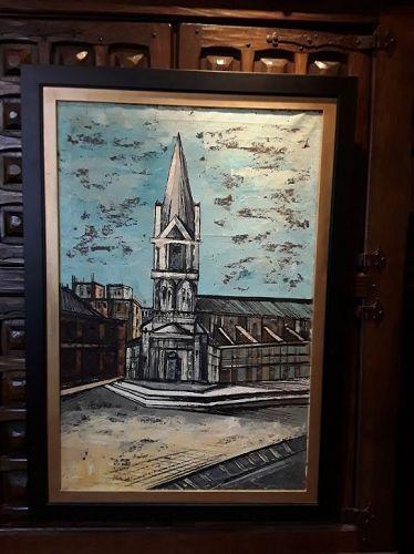 Mid Century Oil on canvas Attb Bernard Buffet Notre Dame