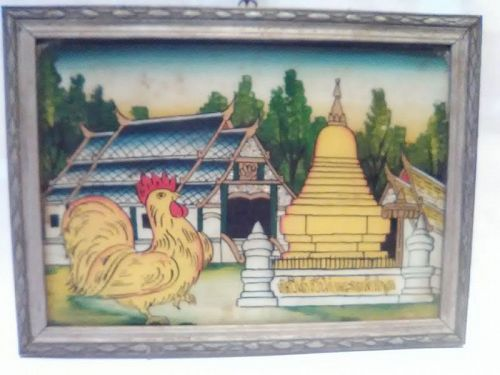 Thailand vintage reverse glass eglomise zodiac painting Rooster