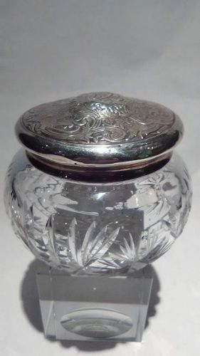 Sterling Silver & Cut Crystal Humidor stash dresser Jar