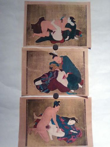 Japanese shunga group with watercolor and gold silver details