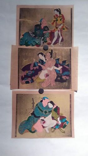 Japanese shunga group with watercolor and gold silver details #4
