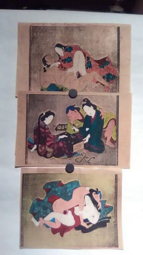 Japanese shunga group with watercolor and gold silver details #5