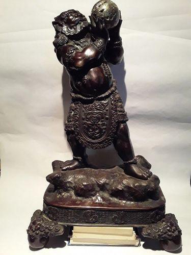 Huge Meiji Bronze Okimono of a Oni on stand