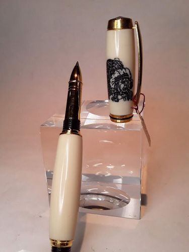 Faux Ivory hand made Rollerball writing Pen