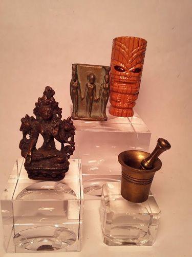 Group lot Buddhist Deity Egyptian bronze triad Tiki Lighter Mortar