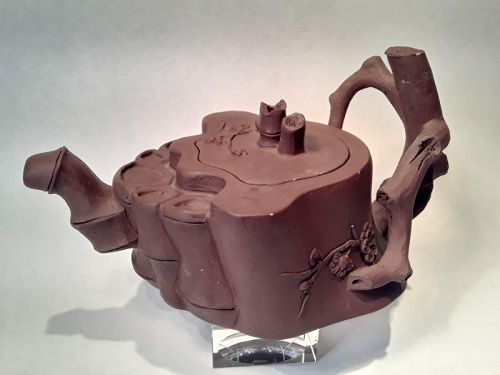 Vintage Chinese Yixing teapot in the shape of a bamboo root