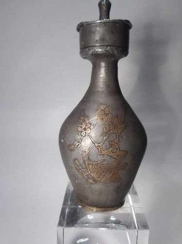 Antique Chinese Tang style pewter and Gilt Flask