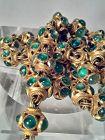 India vintage Polki - Kundan set Emerald bead and Gold necklace