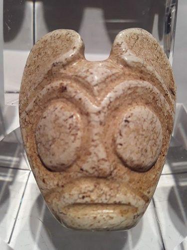 Hongshan Chicken Bone white Jade Owl Or Bat Man mask Pendant