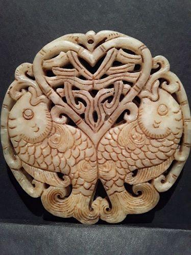 Antique Chinese soft stone Double Koi fish Pendant
