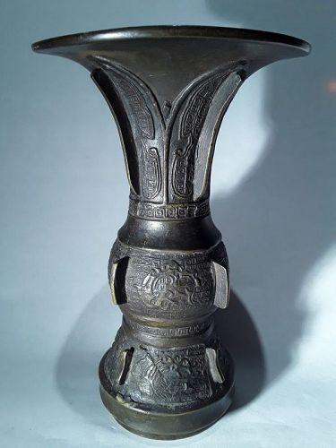 Bronze Gu Vase possibly Ming Dynasty
