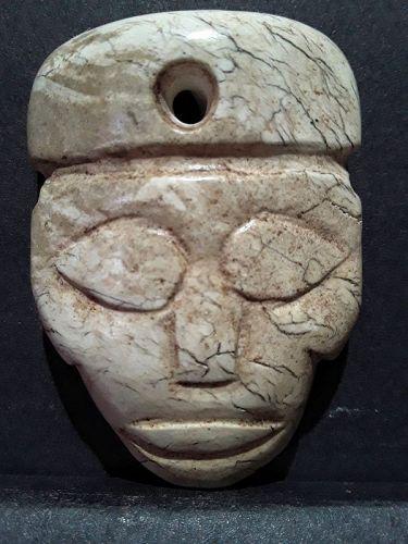 Hongshan culture Chicken bone Jade Face Mask Pendant Toggle