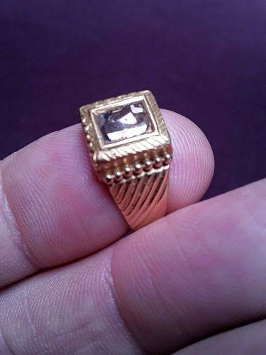 Mens Kundan High Carat Gold and Diamond Ring