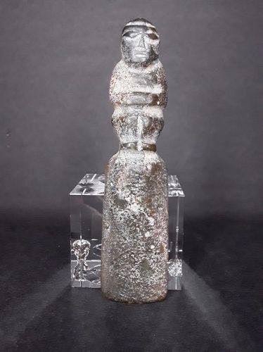 Hongshan Tall figural chisel ax blade pendant in Nephrite Jade