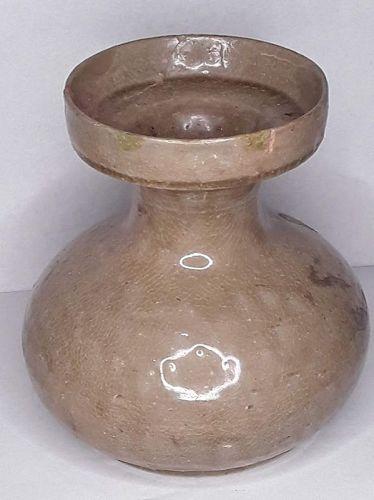 Korean Koryo Dynasty Straw colored celadon Glazed vase