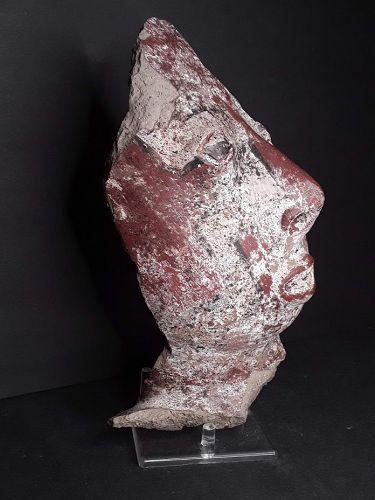 Pre Columbian Rare Near life size Nayarit half face sculpture fragment