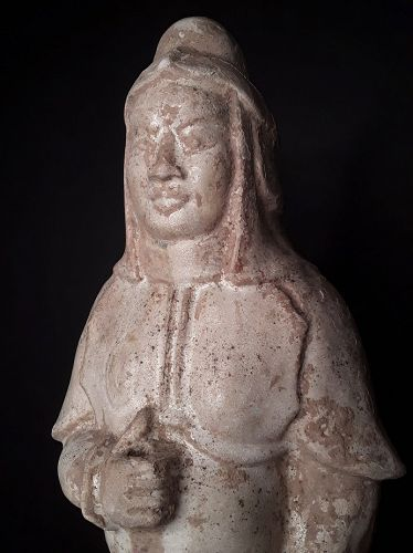 Sui -Tang Straw-Glazed Figure of a Tomb Guardian