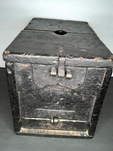 Japanese Late Edo Zenibako wood and Iron Coin Box