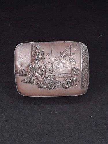 Japanese Meiji Copper on metal trinket or stash box