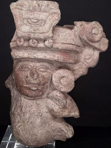 Zapotec Terracotta funerary vessel fragment with paint