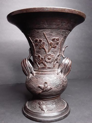 Japanese Edo Dynasty Bronze vase with bamboo and florals