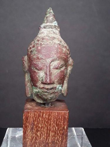 Thai Buddhist Ayutthaya 13-16thc Copper bronze Buddha head