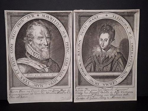 c 1614 Engravings Portraits Prince of Orange and his wife  Elenora