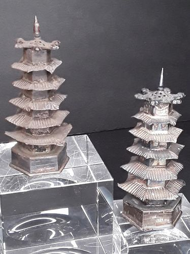 Chinese antique Silver Pagoda shakers match set