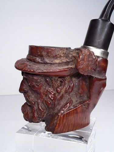 Vintage Austrian Burlwood Carved pipe from red point