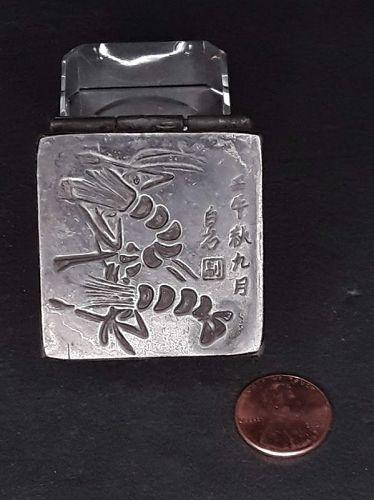 Chinese Opium stash box in Paktong or White Brass