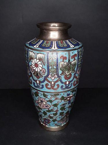Vintage Japanese Cloisonne Vase CPO in Blue Ground