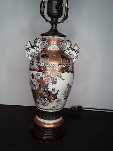 Fine Japanese Kutani Urn Lamp with Peacocks and Foo dog handles