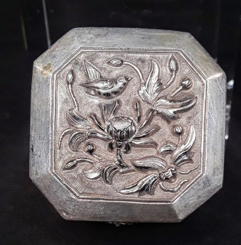 Antique Chinese Silver trinket stash Herb Box with repousse work #2