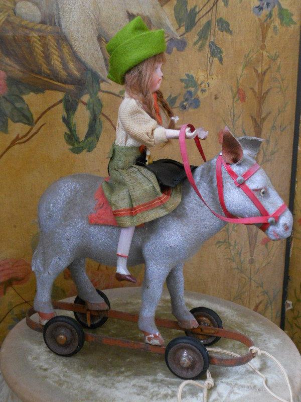 Pretty Paper Mache Pull Toy Girl on Donkey