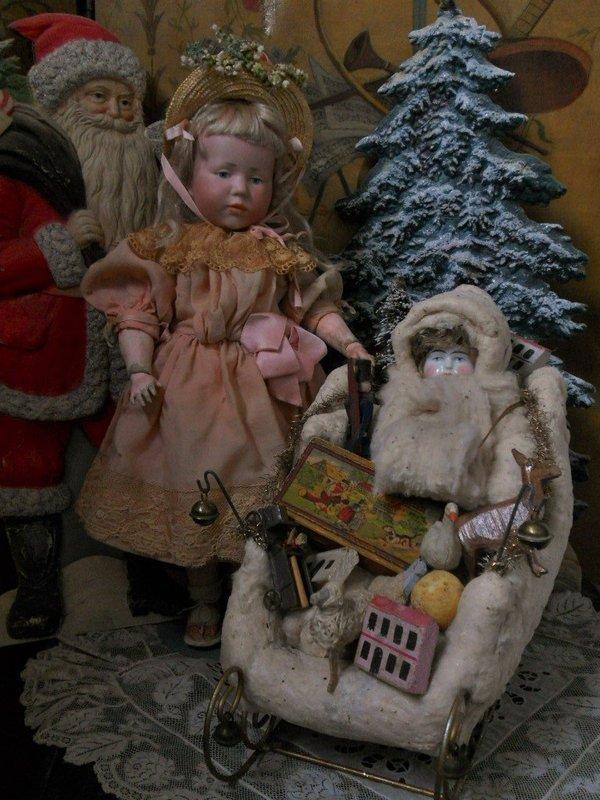 Pretty German Winter-Child Scene in Sledge