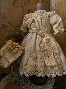 Gorgeous French Silk BeBe Costume with Bonnet