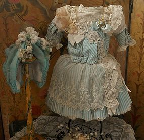 Pretty French Bebe Silk Costume with Couture Bonnet
