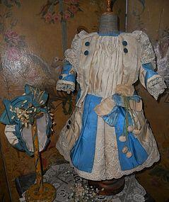 Marvelous Elegant French Silk Bebe Costume with Bonnet