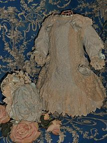 Stunning French Silk and Muslin Bebe Costume with Bonnet
