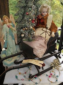 Pretty Antique Wooden Doll Sledge for your Winter-Wonderland