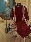 Vintage Burgundy Silk Dress with Bonnet