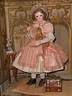 Outstanding French Bisque Poupee with rare Wooden and Kid Body
