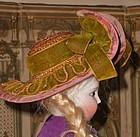"""Early French Poupee Bonnet """" A Deux Bonjours"""" ...."""