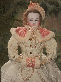 Beautiful Early French Bisque Poupee in Gorgeous Winter-Costume