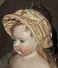 Superb Early French Huret Era Poupee Bonnet