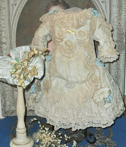 Most Beautiful French Lace and Silk Costume with Antique Straw Hat