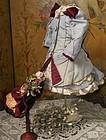 Pretty Small French Bebe Silk Bustle Dress with Straw Bonnet