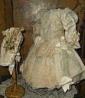 Pretty French Two-Color Silk Bebe Costume with matching Bonnet
