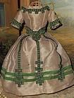 Splendid Silk Poupee Gown circa 1860 for Huret , Rohmer , Barrois ....